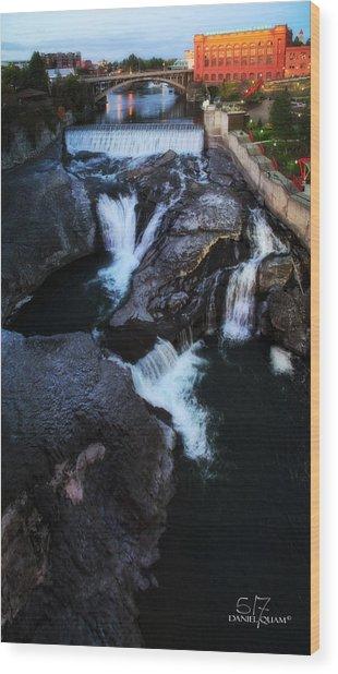 Spokane Falls Wood Print by Dan Quam