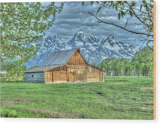 Spring Barn Wood Print