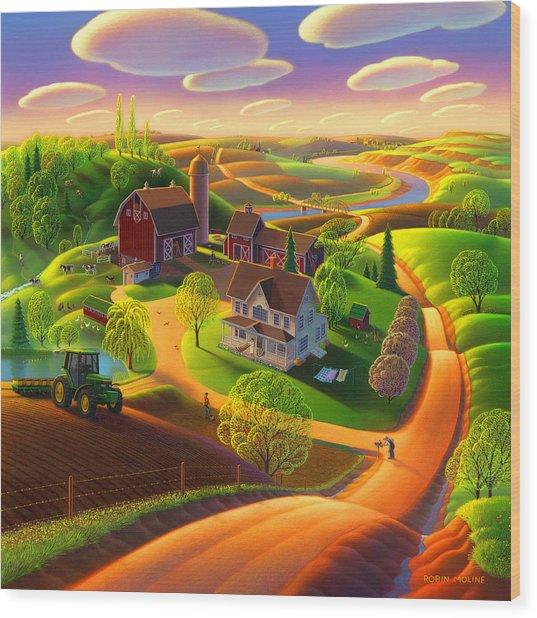 Spring On The Farm Wood Print