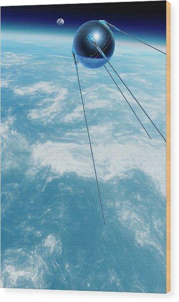 Sputnik 1 In Orbit Wood Print by Detlev Van Ravenswaay