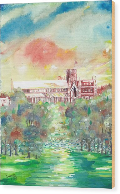 St Albans Abbey - Sunset Wood Print