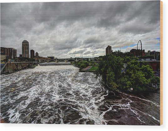 St Anthony Falls Wood Print