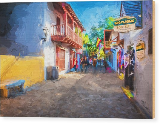 St George Street St Augustine Florida Painted Wood Print