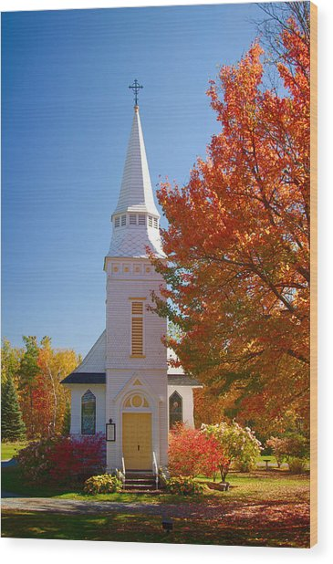 St Matthew's In Autumn Splendor Wood Print