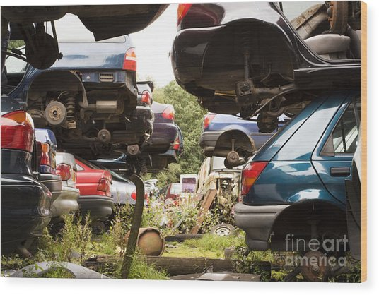 Stacked Cars Wood Print