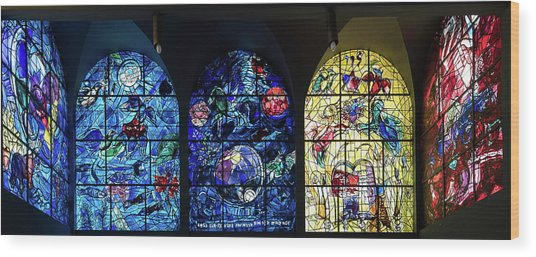 Stained Glass Chagall Windows Wood Print