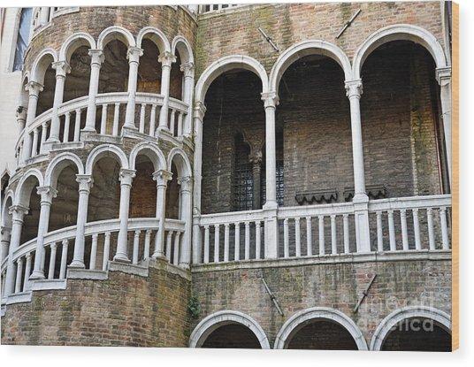 Staircase At Palazzo Contarini Del Bovolo Wood Print by Sami Sarkis