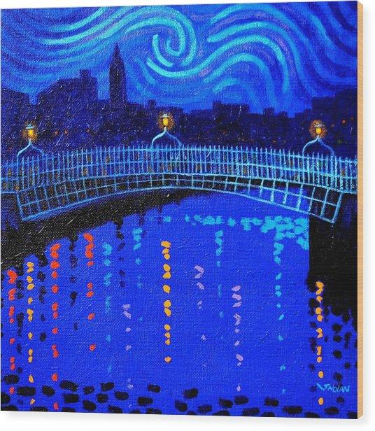 Starry Night In Dublin Wood Print by John  Nolan