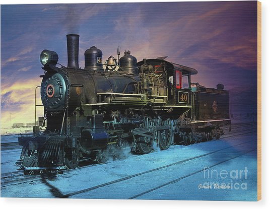 Steam Engine Nevada Northern Wood Print