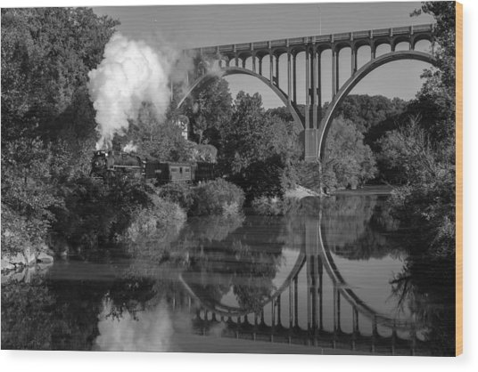 Steam In The Valley Nkp 765 Black And White Wood Print