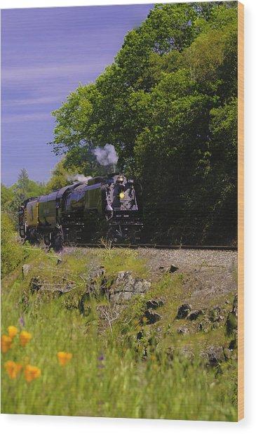 Steam Train Wood Print