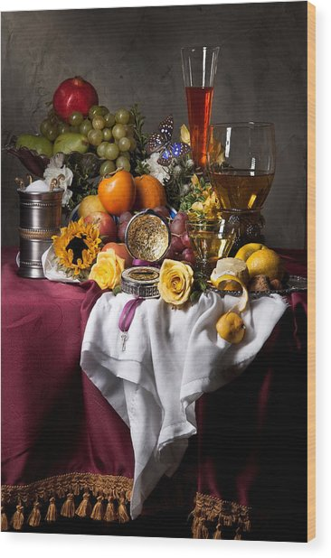 Still Life With Fruits And Drinking Vessels Wood Print
