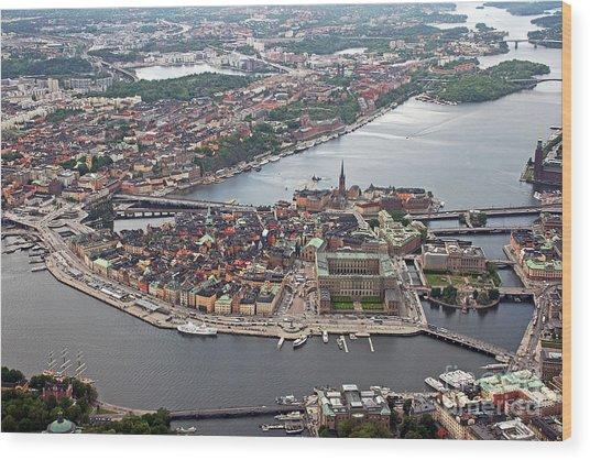 Stockholm Aerial View Wood Print by Lars Ruecker