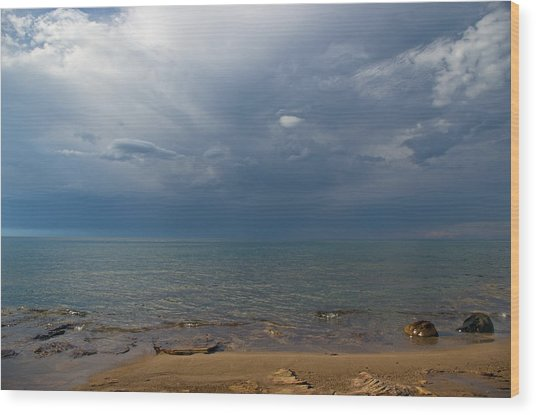 Storm Over Lake Superior Wood Print