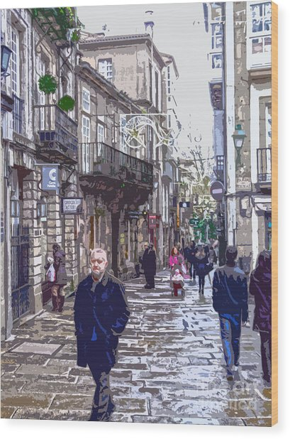 Streets And People Wood Print