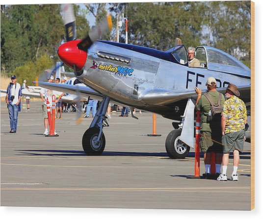 Stu Eberhardt And His P51d Merlin's Magic  Wood Print by John King