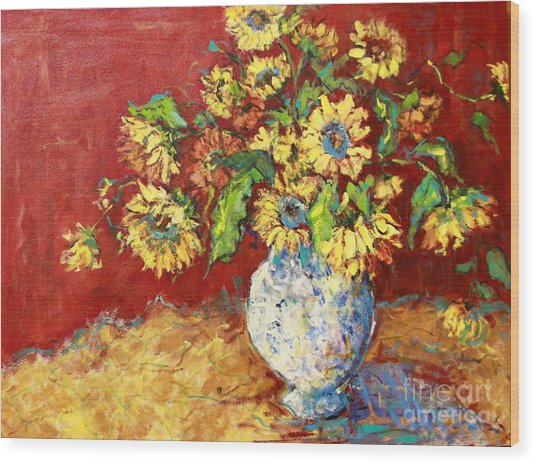 Sun Drenched Sunflowers Wood Print