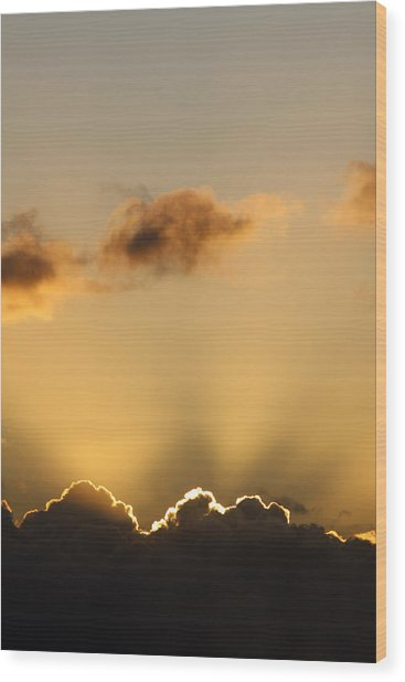 Sun Rays And Dark Clouds Wood Print