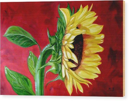 Sunflower Sunshine Wood Print by Maria Soto Robbins