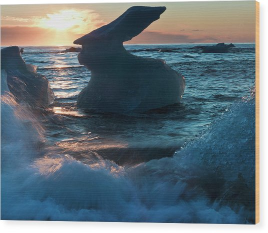 Sunrise And Iceberg Formation Wood Print