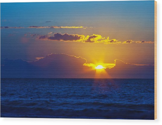 Sunrise At The Beach II Wood Print