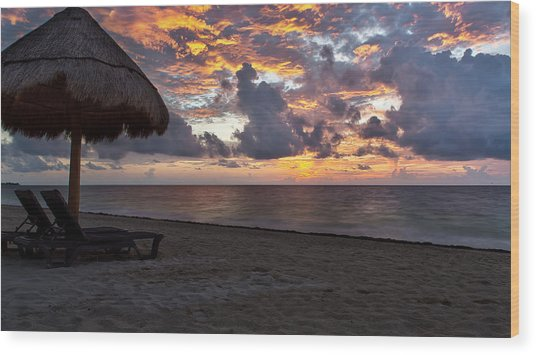 Sunrise In Cancun Mexico Wood Print