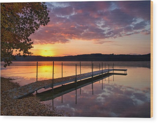 Sunrise On Keoka Lake Wood Print