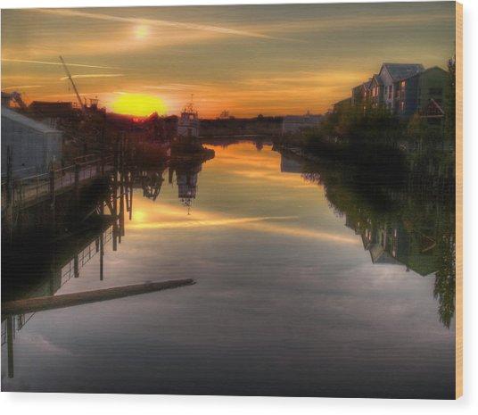 Sunrise On The Petaluma River Wood Print