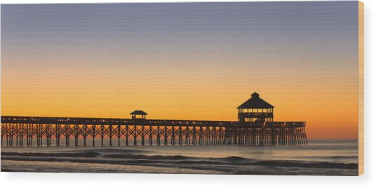 Sunrise Pier Wood Print