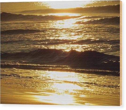 Sunrise Waves Wood Print