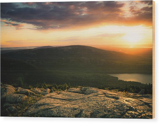 Sunset Acadia National Park Maine Wood Print