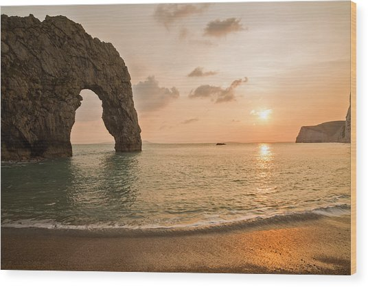 Sunset At Durdle Door Wood Print