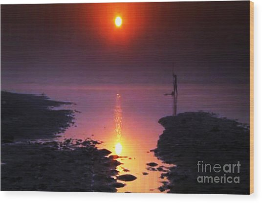 Sunset At Ganga River In The Planes Of Provinces Wood Print
