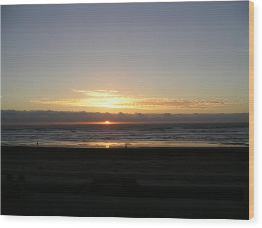 Sunset At Ocean Beach  Wood Print