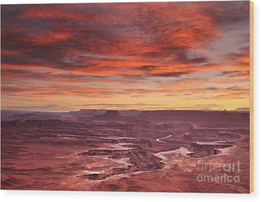 Sunset At The Green River Overlook Wood Print