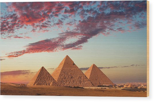 Sunset At The Pyramids, Giza, Cairo Wood Print by Nick Brundle Photography