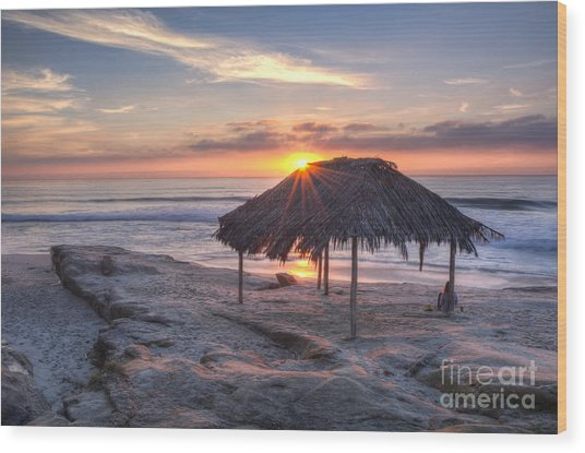 Sunset At Windansea Beach Wood Print