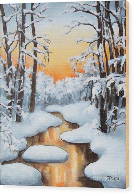 Sunset Creek Wood Print