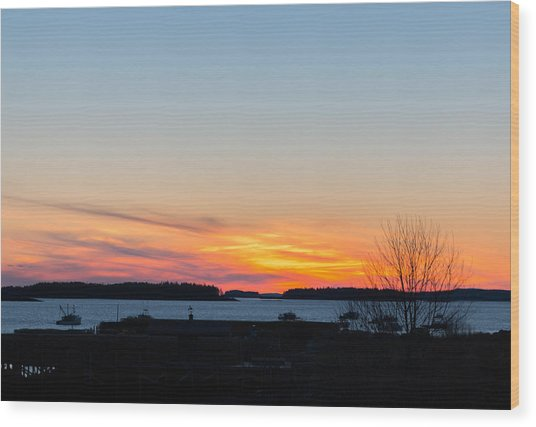 Sunset Down East Maine  Wood Print