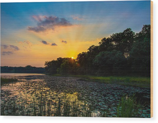 Sunset On Lake Masterman Wood Print