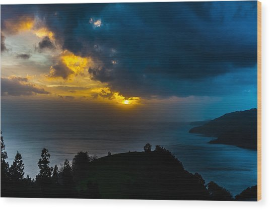 Sunset Over Blue Wood Print