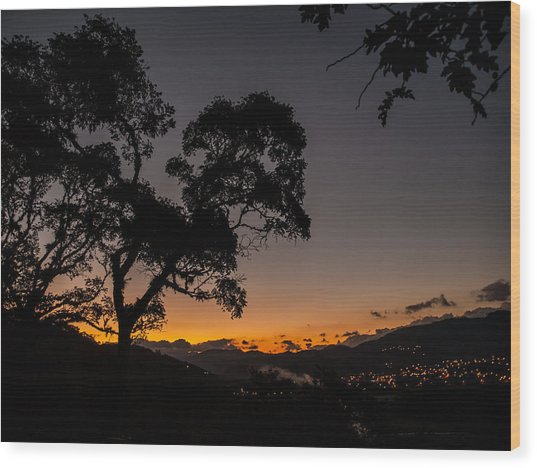 Sunset Over Copan Wood Print