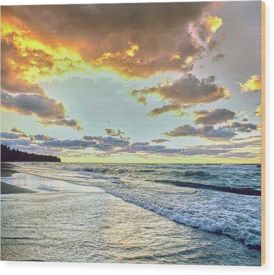Sunset Over Lake Superior, Keweenaw Wood Print