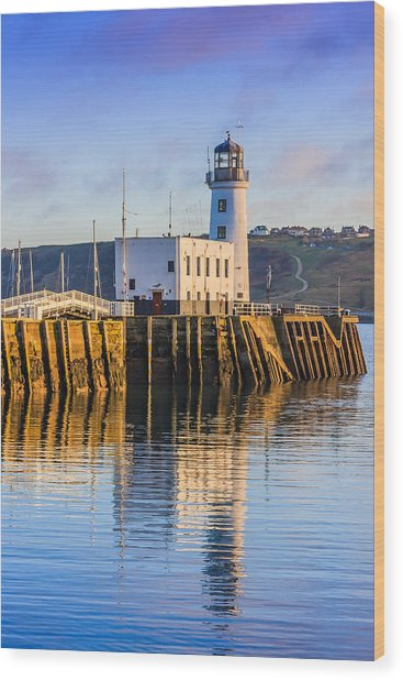 Sunset Over Scarborough Lighthouse Wood Print