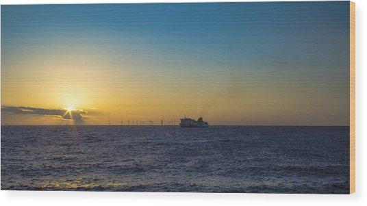 Sunset Over The Irish Sea Wood Print by Paul Madden