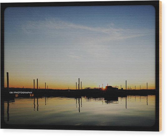 Wood Print featuring the photograph Sunset Over The Marina. by Chris Babcock