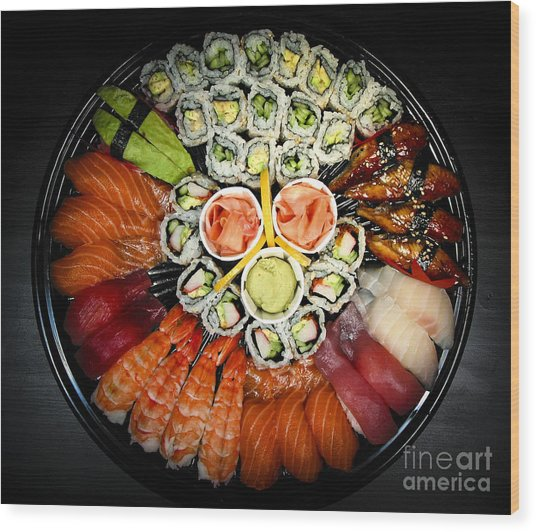 Sushi Party Tray Wood Print