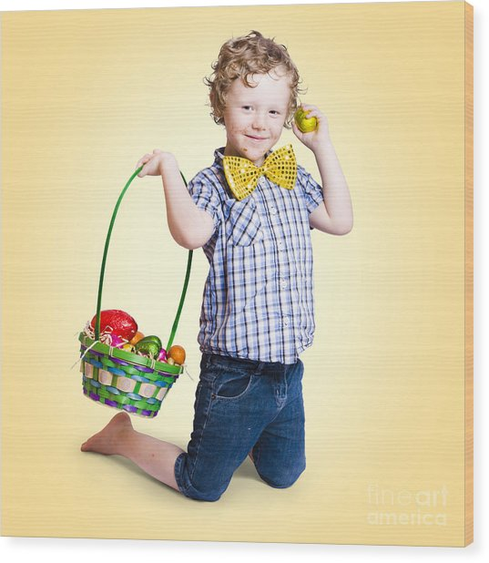 Sweet Little Child Holding Easter Egg Basket Wood Print