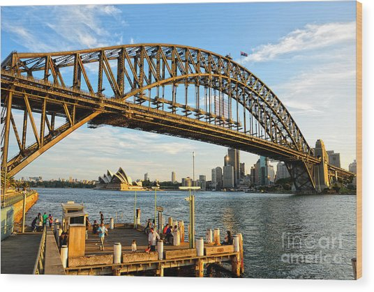 Sydney Harbour Bridge Arching Gracefully Over Sydney Harbour Wood Print
