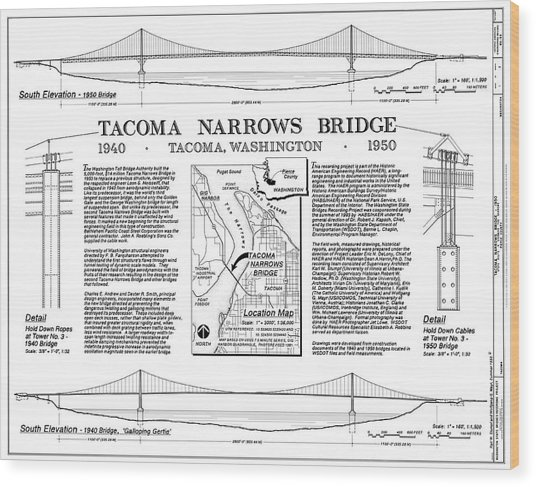 Tacoma Narrows Bridges Compared Wood Print by Library Of Congress/science Photo Library